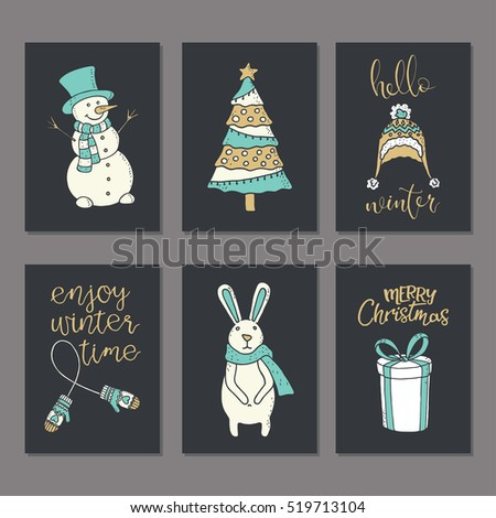 Christmas and New Year Cards Collection. Winter Holiday cards and Posters Templates Set. Also can be used as Congratulations, Invitations, Tags.