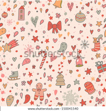 Christmas and New Year cartoon seamless pattern in vector. Seamless pattern can be used for wallpapers, pattern fills, web page backgrounds,surface textures