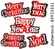 Christmas and New Year celebration rubber stamps - stock vector