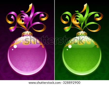 Christmas and New Year circle frame. Vector ribbon in the shape of 2016 and glass ball. Purple and green - stock vector