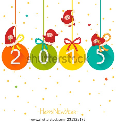 Christmas and new year colorful balls with Elves, 2015, vector.