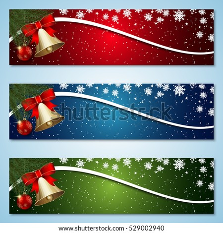Christmas and New Year colorful vector banners collection