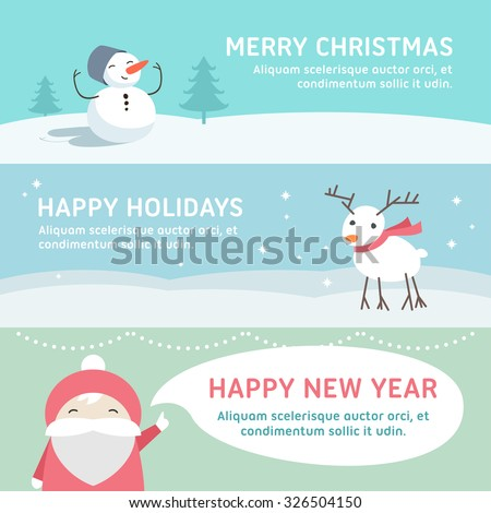Christmas and New Year Cute Hand Drawn Vector Decorative Design Elements with Cartoon Characters. Vector Template for Greeting Postcard or Promotional Web Banner - stock vector