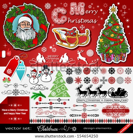 Christmas and New Year decorations vector set, creative, art elements, icons idea, silhouettes of Santa, reindeers, calligraphic shapes, decorative, ornamental winter collection, templates for design - stock vector