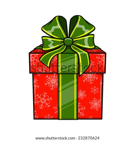 Christmas and New Year decorative present box. Bright object isolated on white. Eps 10 vector illustration. - stock vector