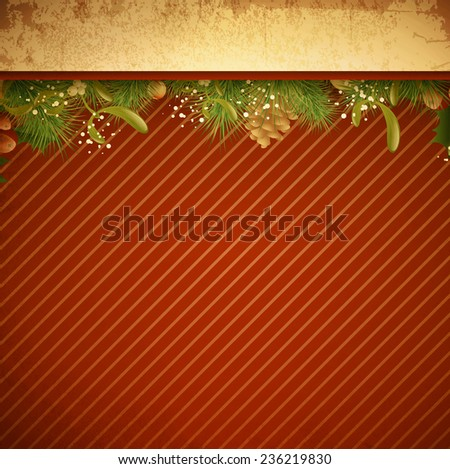 Christmas and New Year Decorative Vintage Grunge Background, Copyspace - stock vector
