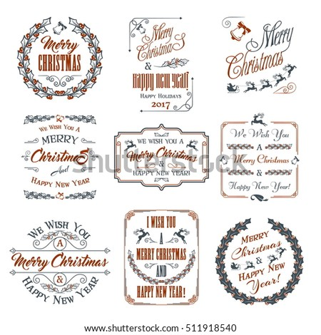 Christmas And New Year Design Elements Set. Typographic Elements, Vintage Labels, Frames, Ornaments and Ribbons