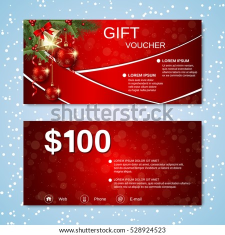 Christmas and New Year discount coupon, gift voucher vector template.