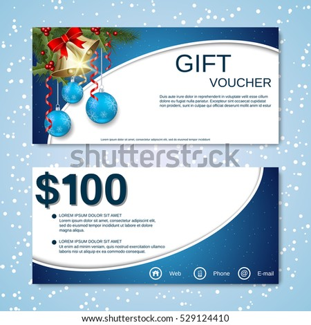 Christmas and New Year discount coupon, gift voucher vector template