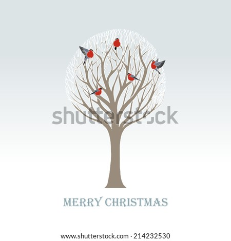 Christmas and New Year festive background, xmas greeting card with tree in snow, winter wallpaper, artistic, fantasy vector holiday invitation for design - stock vector