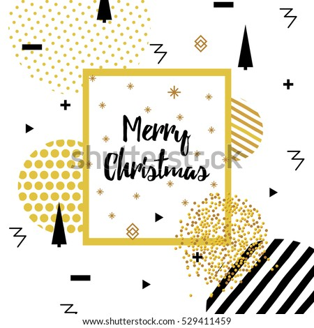 Christmas new year flat design greeting stock vector 529411459 christmas and new year flat design greeting cards with square frame memphis style golden m4hsunfo Image collections