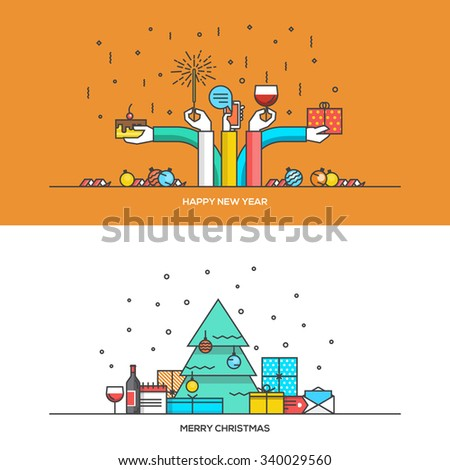 Christmas and New Year flat line design concept for  web banner, marketing material and greeting cards. Vector Illustration - stock vector