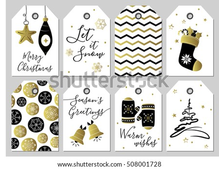 Christmas and New Year gift tags. Gold, black, white colors. Golden greeting cards. Snowflakes and chevron patterns, mittens, bells, Christmas tree, decoration. Sale labels.