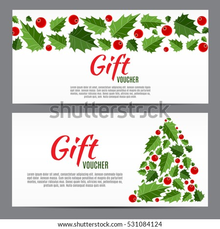 Christmas And New Year Gift Voucher, Discount Coupon Template Vector  Illustration EPS10  Discount Coupons Templates