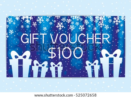 Christmas and New Year gift voucher with snowflakes.