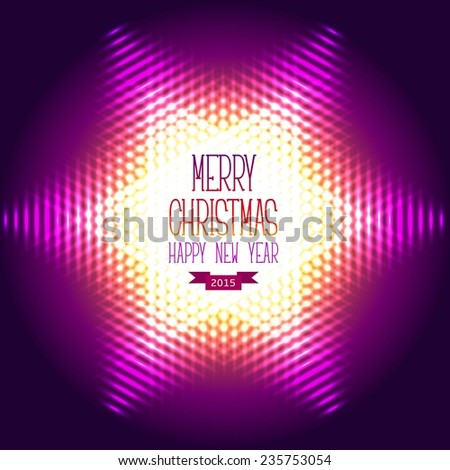 Christmas and new year greeting card. Abstract glowing vector background. snowflake shape - stock vector