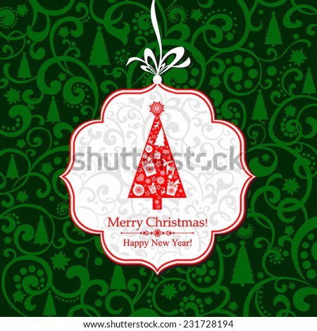 Christmas and New Year greeting card. Celebration background with Christmas tree, gift boxes and place for your text. Vector Illustration - stock vector