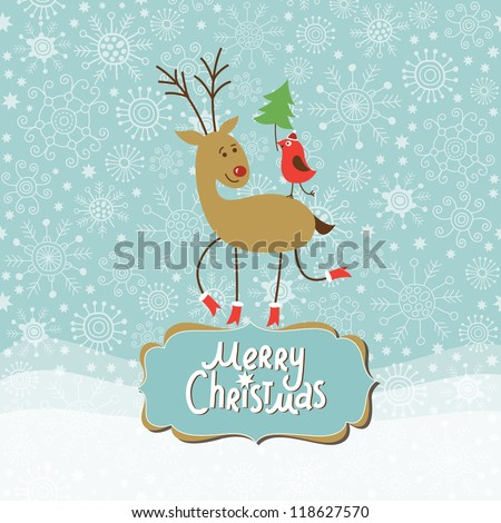 Christmas and New Year Greeting card, cute Deer and little Bird - stock vector