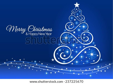 Christmas and New Year greeting card in blue. - stock vector