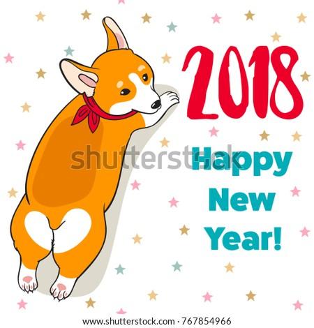 Christmas new year greeting card cartoon stock vector royalty free christmas and new year greeting card with cartoon funny corgi dog vector illustration for use m4hsunfo