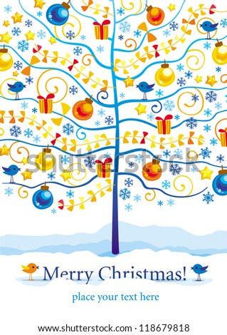 Christmas and New Year greeting card with winter tree, birds and gifts - stock vector