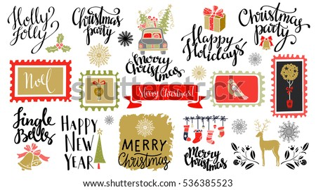 Christmas and New year hand drawn, scrapbooking design elements, icons, marks set isolated on white background. Hand written font, lettering
