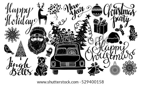 Christmas and New year hand drawn, scrapbooking design elements, icons set isolated on white background. Handwritten font. Vector design