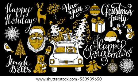 Christmas and New year hand drawn set, scrapbooking design elements, icons isolated on black background. Handwritten font. Vector design