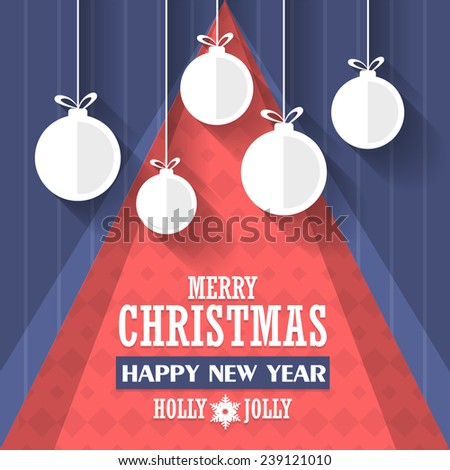 Christmas and New Year Hanging Christmas Ball Announcement and Celebration Message Poster, Flyer Design  - stock vector