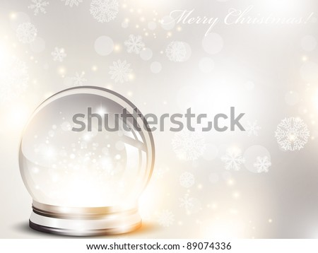 Christmas and New year holiday background with glass ball and snow over blue - stock vector