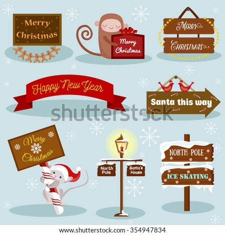 Christmas and New Year holiday Icons and labels image design set for your illustration, design, postcards, labels, stickers and other creative needs.