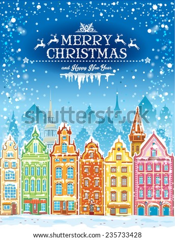 Christmas and New Year holidays card with snowy town - stock vector