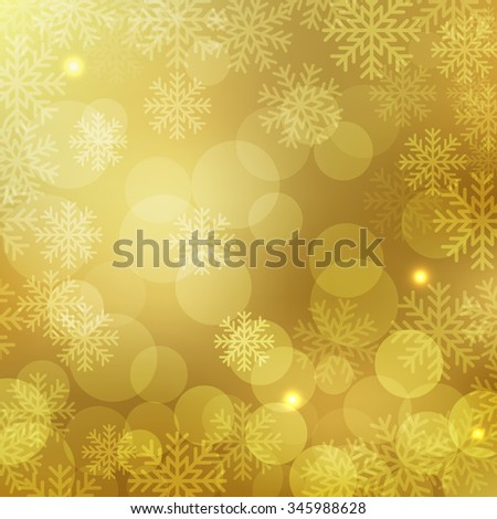 Christmas and New Year holidays gold background bokeh effect with defocused lights and snowflakes. Vector illustration EPS10 - stock vector