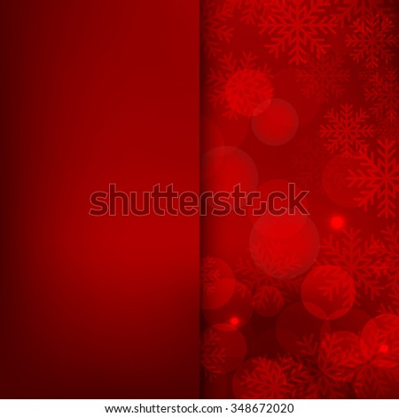 Christmas and New Year holidays red Background bokeh effect with defocused lights and snowflakes. Vector illustration EPS10 - stock vector