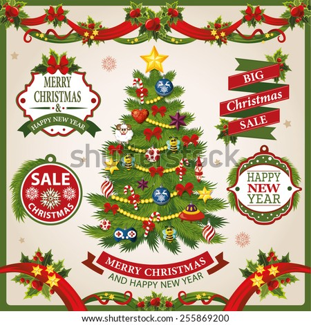 Christmas and New Year holidays set of labels, ribbons and other decorative elements - stock vector