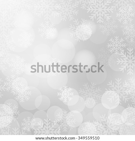 Christmas and New Year holidays white background bokeh effect with defocused lights and snowflakes. Vector illustration EPS10 - stock vector