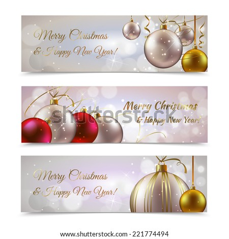 Christmas and new year horizontal banners set with decoration balls isolated vector illustration - stock vector