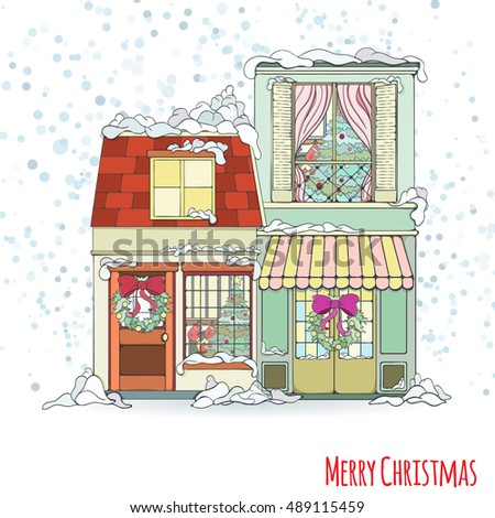Christmas new year house invitation card stock vector 489115459 christmas and new year house invitation card hand drawn city vector illustration of winter decorated stopboris Images