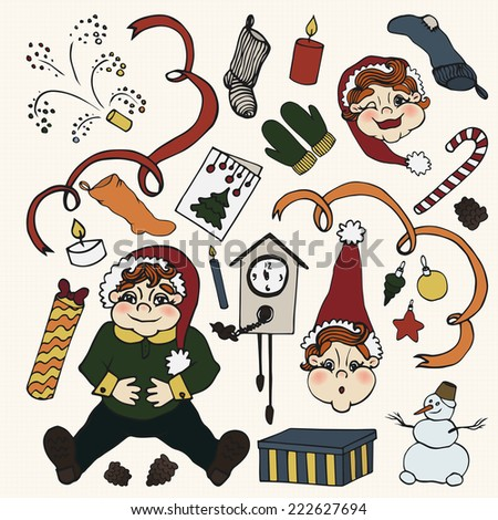 Christmas and new year icon doodle set. 25  elements. hand drawn sketch.