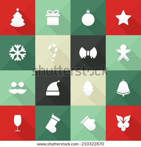 Christmas and New Year icons in flat design, with long shadows - stock vector