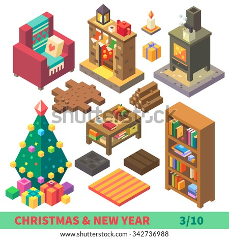 Christmas and New Year Isometric Set: cozy and comfortable interior isolated stuff: bearskin, armchair with pillow, fireplace, bookshelf, coffee table. Flat vector illustration set.  - stock vector
