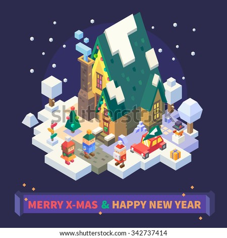 Christmas and New Year Isometric Set: Cute xmas house covered with snow, boy and girl playing outside, car with fir on its roof. snowed trees. Flat Vector Isometric set.  - stock vector