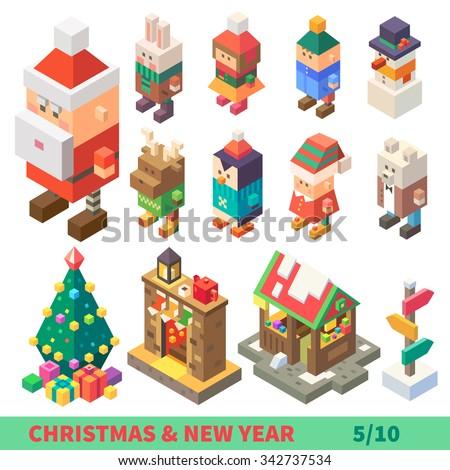 Christmas and New Year Isometric Set:  different characters and items  : Santa, rabbit, boy, girl, snowman, deer, penguin, Santa's elf, polar bear, fireplace, pointer. Flat Vector illustration set.  - stock vector