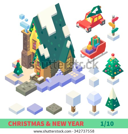 Christmas and New Year Isometric Set: outdoor tiles, items and buildings: ice, snow, ground tiles, chapel, car, Santa's sledge, colorful pointer. Flat vector illustration set.  - stock vector