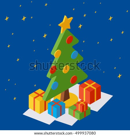 Christmas and New Year isometric vector illustration