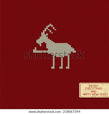 Christmas and New Year knitted pattern card with funny goat - stock vector