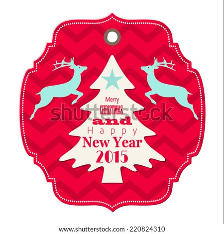 christmas and new year 2015 label with reindeer on chevron pattern, isolated on white background, vector illustration, eps 10 - stock vector