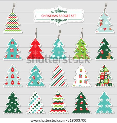 Christmas and new year labels and stickers in the shape of a christmas tree. Different festive patterns are full under clipping mack.