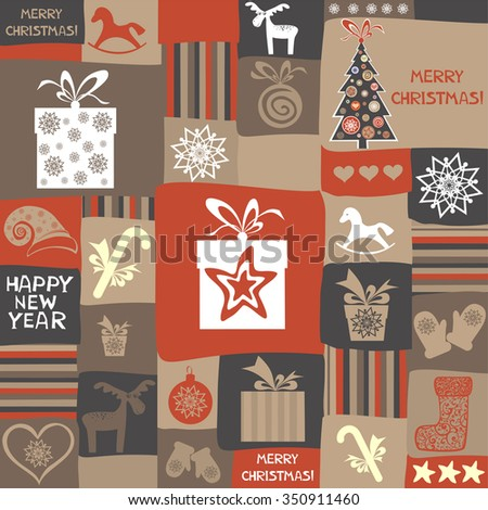 Christmas and New Year pattern. Celebration background with Christmas ball, Christmas tree, deer, star and gift box. Vector illustration - stock vector