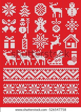 Christmas and New Year red and white knitting pattern elements